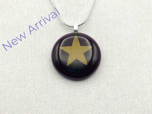 Very Deep Purple Round Glass Necklace with Gold Star Detail