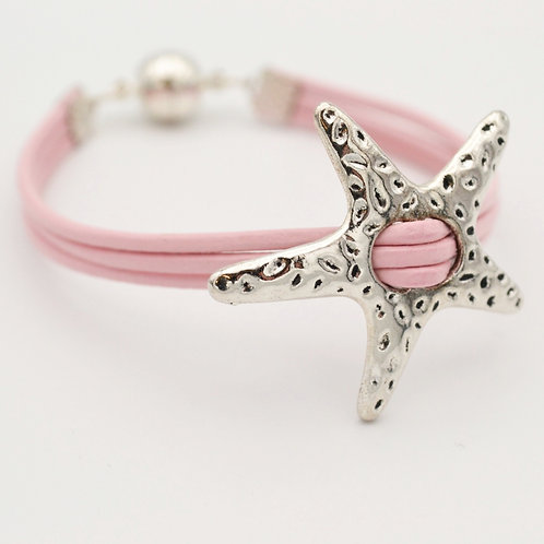 Silver Star Bracelet with Pink Leather Strap