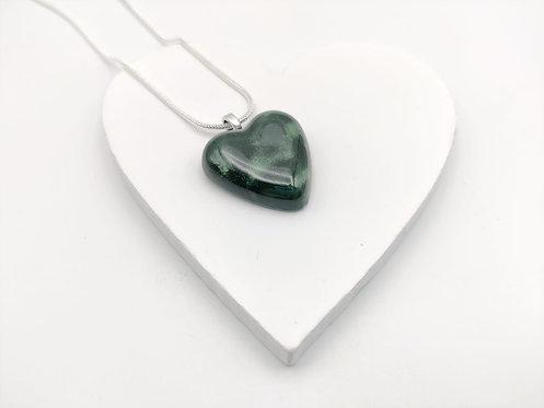 Mottled Dark Green Solid Glass Heart Necklace