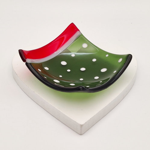 Dark Green Square Dish with White Snow Dots Detail and Red Edge