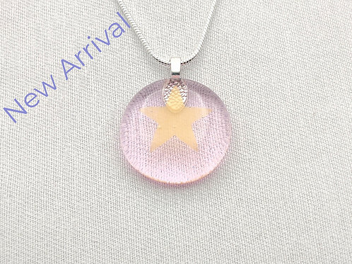 Very Pale Pink Round Glass Necklace with Gold Star Detail