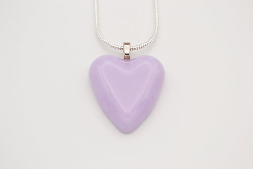 Lilac Solid Glass Heart Necklace