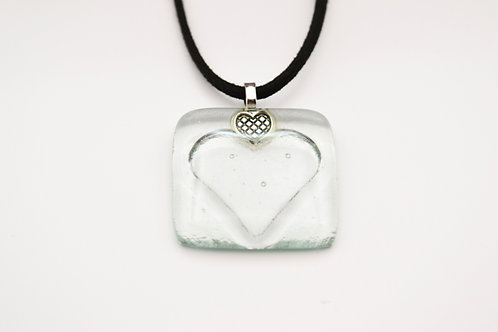 Very Pale Green Impressed Heart  Necklace