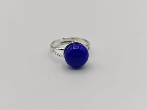 Blue Glass Adjustable Ring