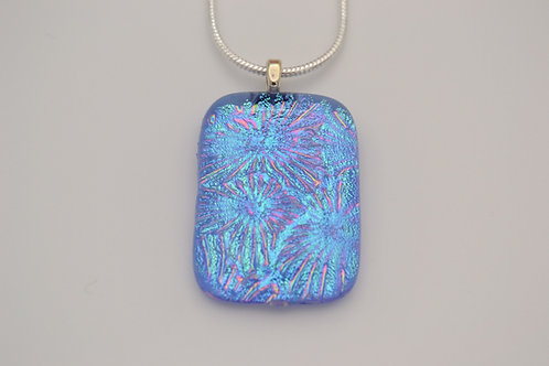 Blue Explosive Design Dichroic Glass Necklace