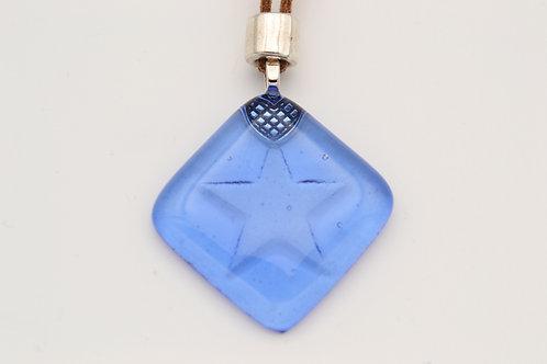 Blue Impressed Star Glass Necklace