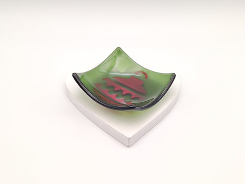 Green Square Dish with Red Bauble