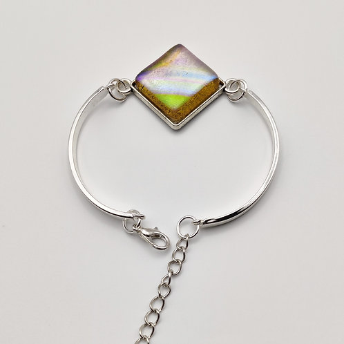 Gold Square Dichroic Glass Bracelet