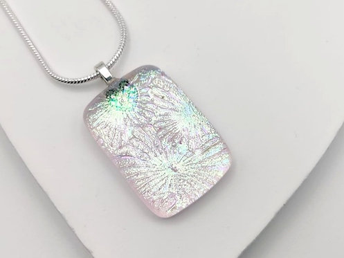 Pale Pink Explosive Design Dichroic Glass Necklace