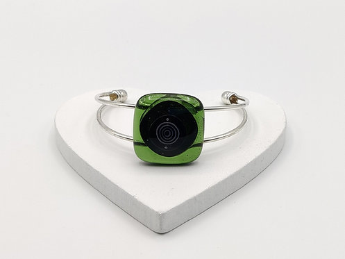 Clear Green with Black Circle Detail Bangle Bracelet