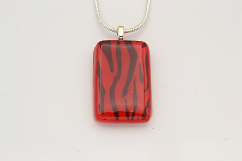 Red Zebra Print Glass Necklace
