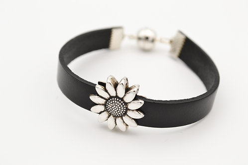 Black Leather Bracelet with Silver Flower Design