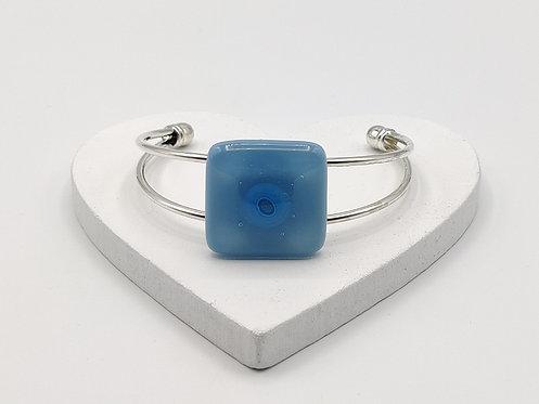 Light Blue  with Slightly Darker Blue Circle Detail Bangle Bracelet