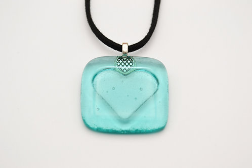 Marine Green Impressed Heart Glass Necklace