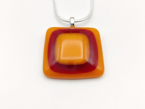 Orange Square Necklace with Deep Red and Orange Centre