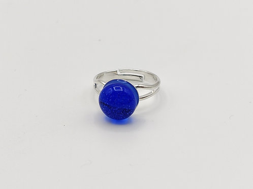 Blue Transparent Glass Adjustable Ring