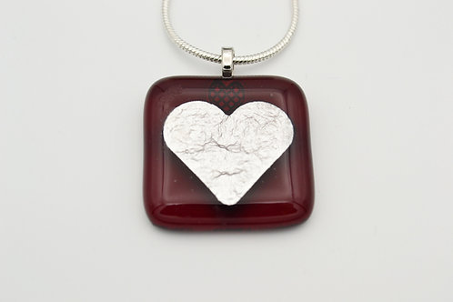 Deep Red Silver Leaf Heart Glass Necklace