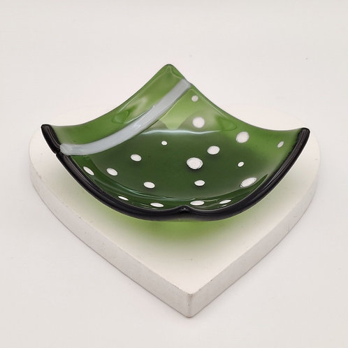 Dark Green Square Dish with White Dot Detail
