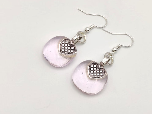 Pale Pink Transparent Glass Earrings