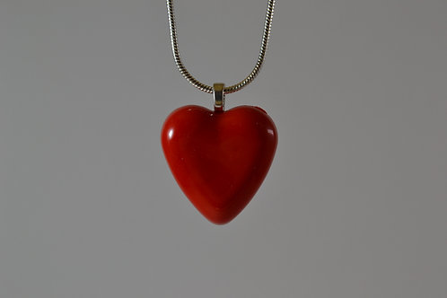 Red Solid Glass Heart Necklace