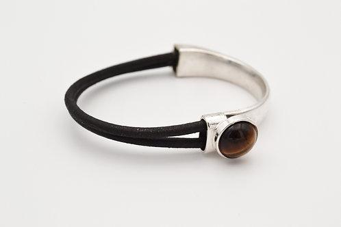 Tiger's Eye Half Cuff Leather Bracelet