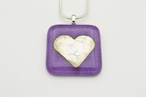 Mauve Silver Leaf Heart Glass Necklace