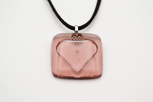 Pale Plum Impressed Heart Glass Necklace