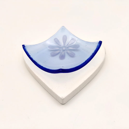 Blue Square Dish with White Flower Detail