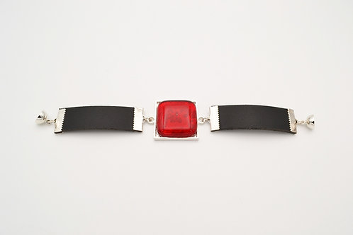 Leather Bracelet with Red Square Glass Centre