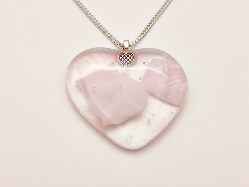 Large Pink Glass Heart Necklace