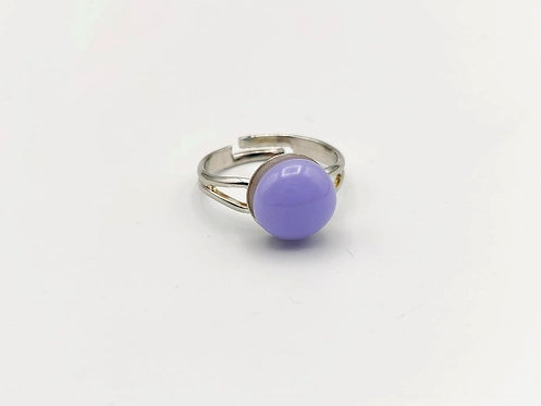 Lilac Opalescent Glass Adjustable Ring