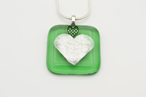 Green Silver Leaf Heart Glass Necklace