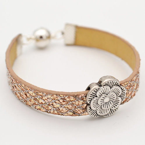 Gold Glitter Bracelet with Silver Flower Design