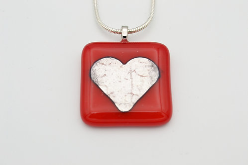 Red Silver Leaf Heart Glass Necklace