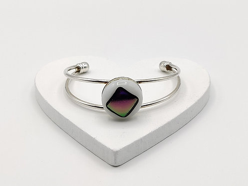 Purple/Green on White Glass Bangle Bracelet