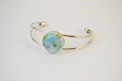 Pale Blue/Green Glass Bangle Bracelet