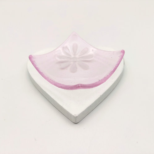 Pale Pink Square Dish with White Flower Detail