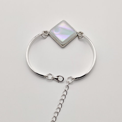 White Square Dichroic Glass Bracelet