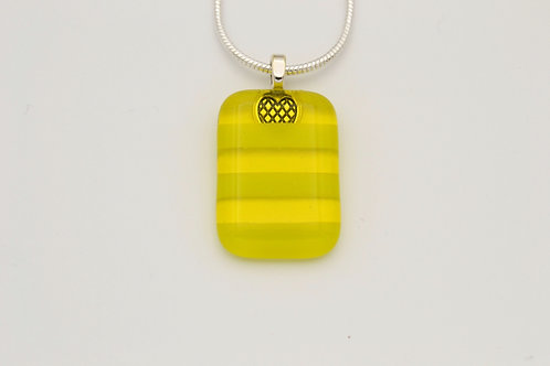 Yellow Striped Glass Necklace