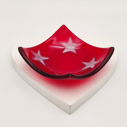 Red Square Dish with White Star Detail