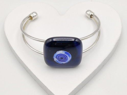 Very Dark Blue with Lighter Blue Circle Detail Bangle Bracelet