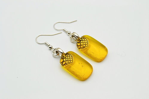 Yellow/Gold Glass Earrings