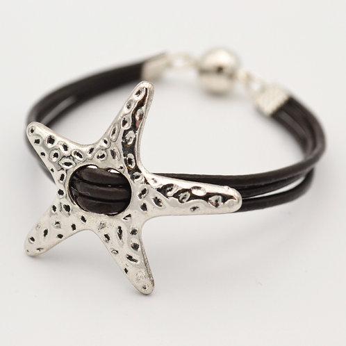 Silver Star Bracelet with Dark Brown Leather Strap