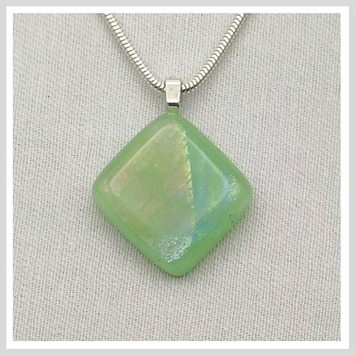 Light Green Dichroic Diamond Shaped Glass Necklace