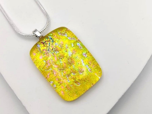 Yellow Dichroic Glass Necklace