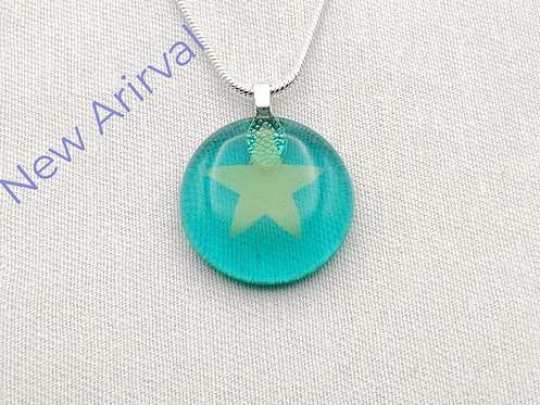 Marine Green Round Glass Necklace with Gold Star Detail
