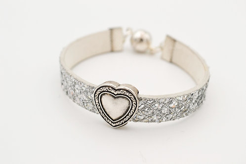 Silver Glitter Leather Bracelet with Silver Heart Design