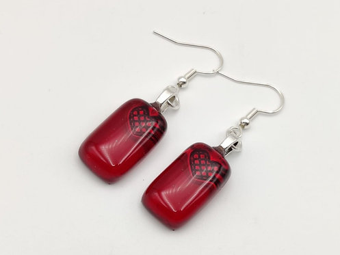 Deep Red Transparent Glass Earrings