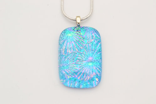 Turquoise Explosive Design Dichroic Glass Necklace