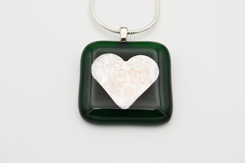 Dark Green Silver Leaf Heart Glass Necklace